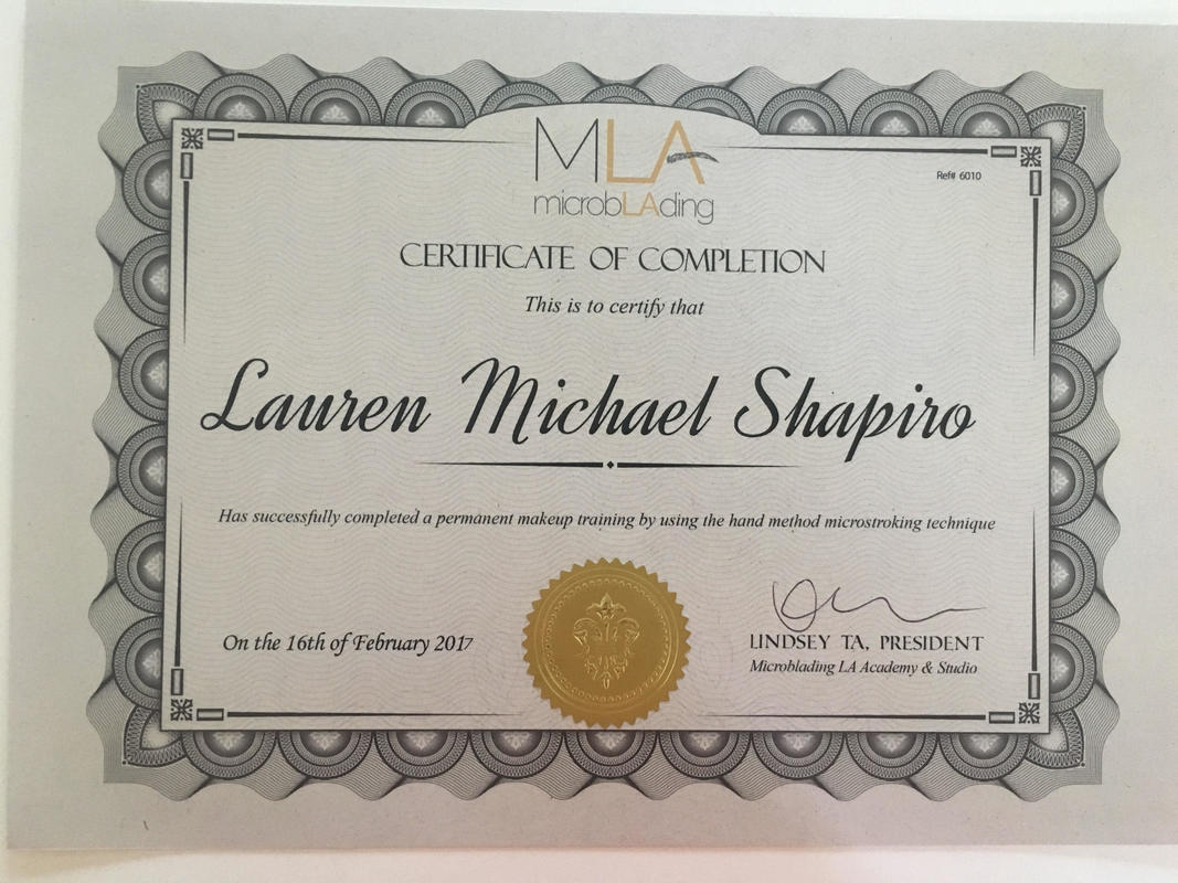 certificate of completion microblading LA